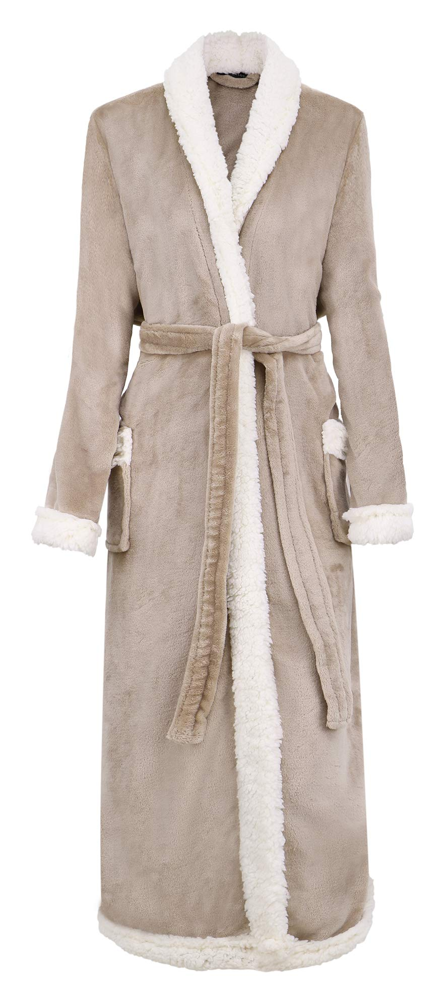 BURKLETT Luxury Sherpa Trim Fleece Long Bath Robe with Pocket
