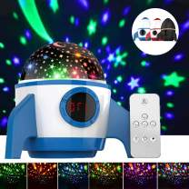 Night Light Star Projector,Amouhom Starry Sky Projector,Baby Star Light with Remote Control&Timer Design&Rotating,Best Toys for Boys and Girls,Bedroom,Living Room,(Rocket-Blue)