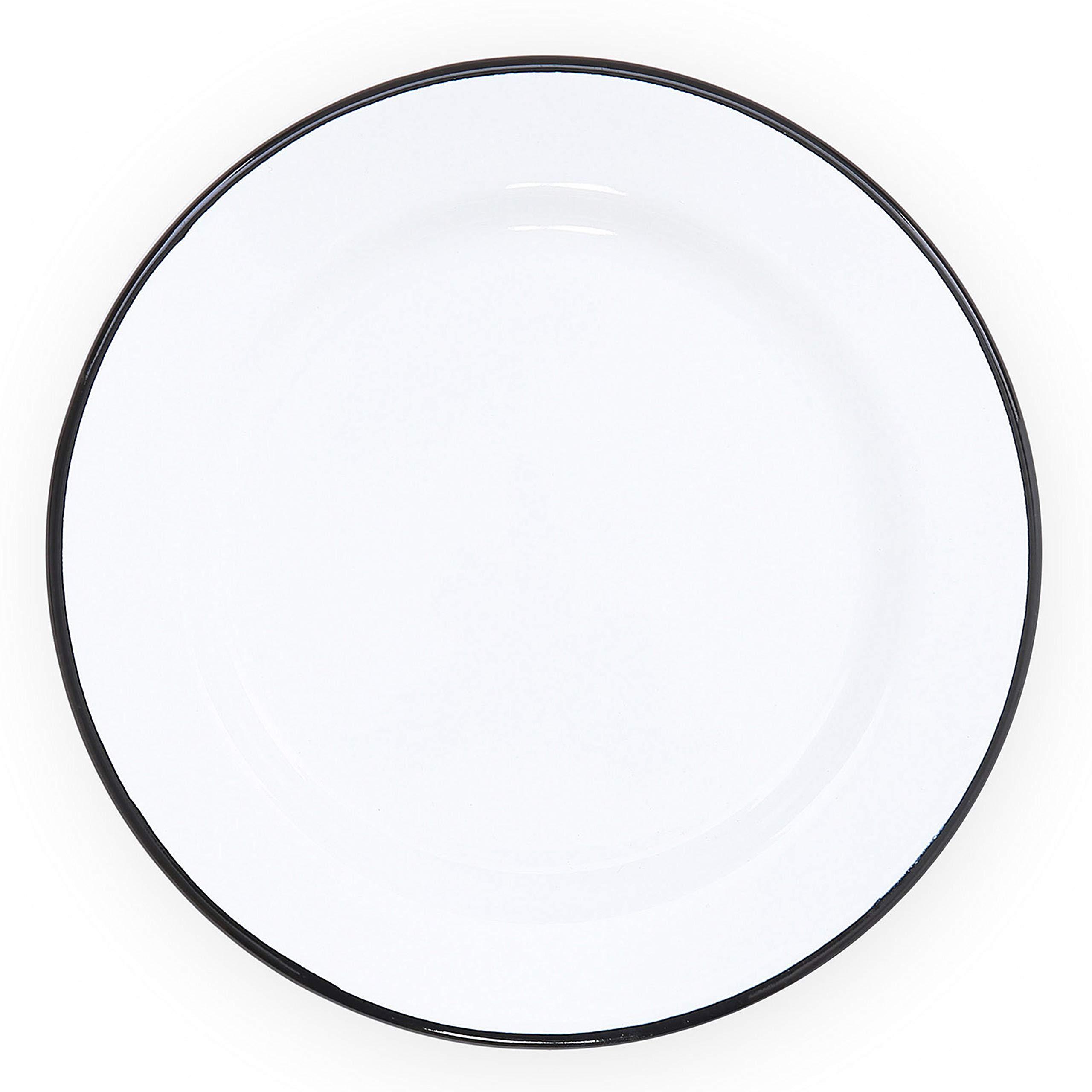 Enamelware Flat Salad Plate, 8 inch, Vintage White/Black (Set of 4)