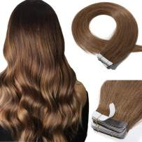 Tape In Real Human hair Extension Glue In Skin Weft Hair Extensions Rooted Tape in Remy Hair Seamless Invisible Double Sided Tape Human Hair Extensions For Women 18 inch 30g 20pcs #06 Light Brown
