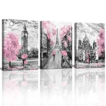 CANVASZON Black and White Canvas Wall Art for Living Room Bedroom Bathroom Girls Pink Paris Theme Room Decor Oil Painting Print London Big Ben Tower Eiffel Painting for Wall Decor Pink