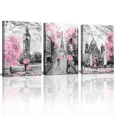 London Oil Painting Artwork Big Ben Pink Umbrella Canvas Wall Art Picture Print