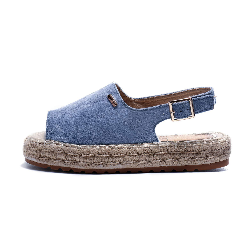 Alexis Leroy Women's Summer Open Toe Comfort Flat Espadrille Sandals