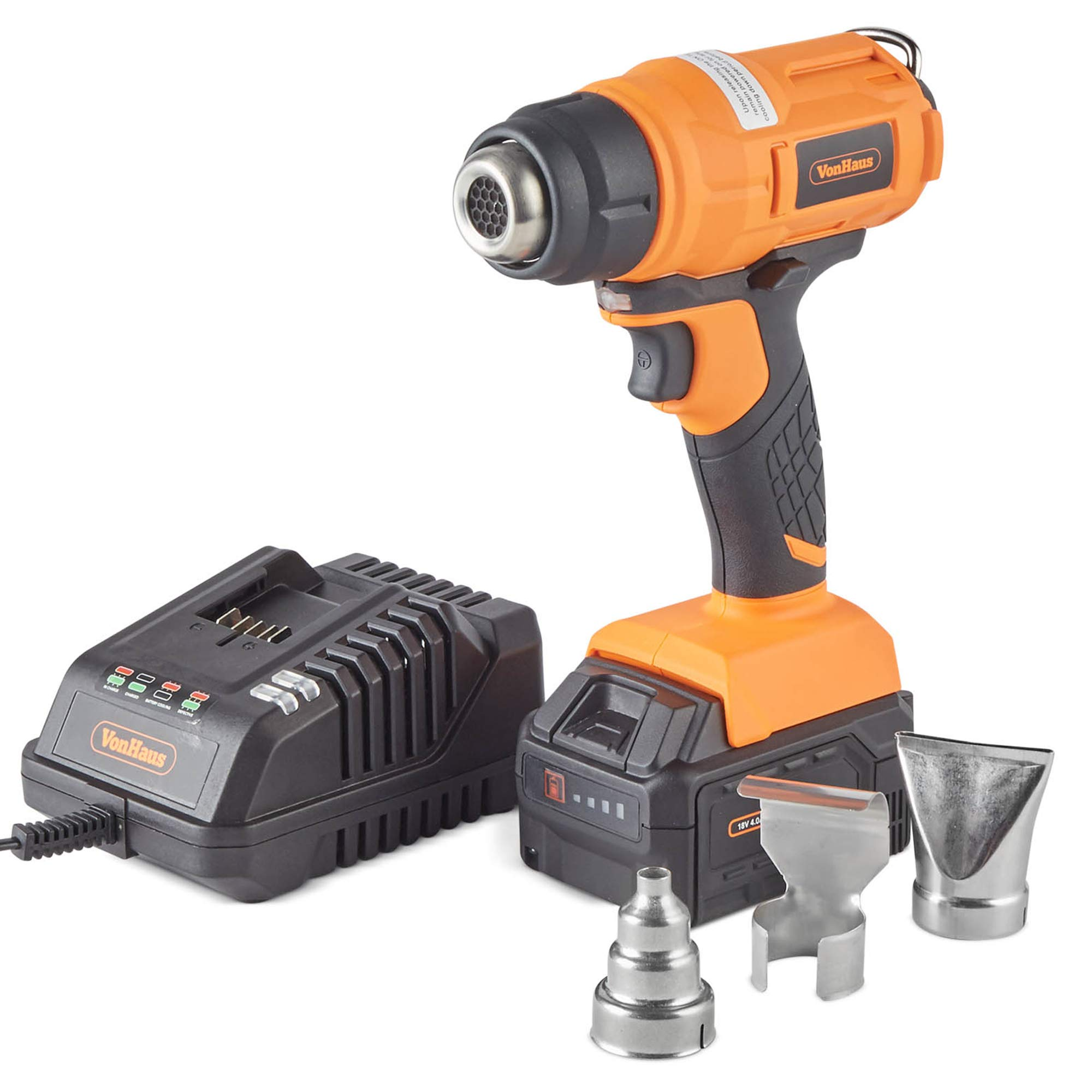 VonHaus 18V Cordless Heat Gun Professional Hot Air Gun with LED Light, Lithium-ion Battery, Reflector Nozzle Concentrator Nozzle Air Spreader Nozzle for Soldering Pipes, Shrinking