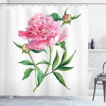 "Ambesonne Watercolor Flower Shower Curtain, Vintage Peony Painting Botanical Spring Garden Flower Nature Theme, Cloth Fabric Bathroom Decor Set with Hooks, 84"" Long Extra, White Pink"