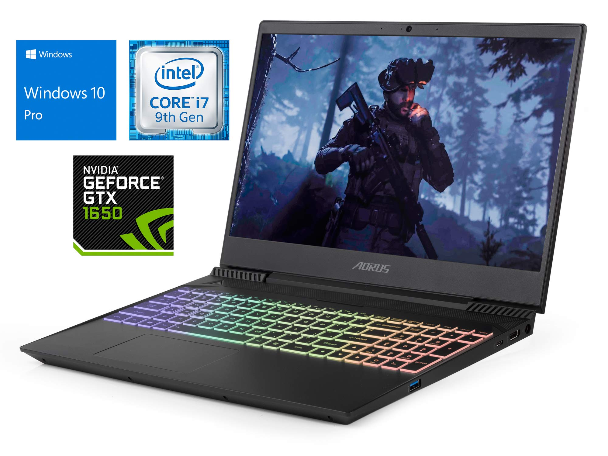 "GIGABYTE Aorus 5 Laptop, 15.6"" FHD Display, Intel Core i7-9750H Upto 4.5GHz, 64GB RAM, 2TB NVMe SSD + 1TB HDD, NVIDIA GeForce GTX 1650, HDMI, Card Reader, Wi-Fi, Bluetooth, Windows 10 Pro"
