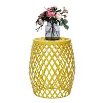 Adeco Hatched Diamond Pattern, for Indoor Outdoor Home Garden Accent Round Iron Metal Stool Side End Table Plant Stand Chair, Yellow