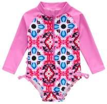 kavkas Baby Girl Long Sleeve Swimsuit Cute Rash Guard One Piece Bathing Suit Ruffle Bikini for Toddler Girl (3M-2T)