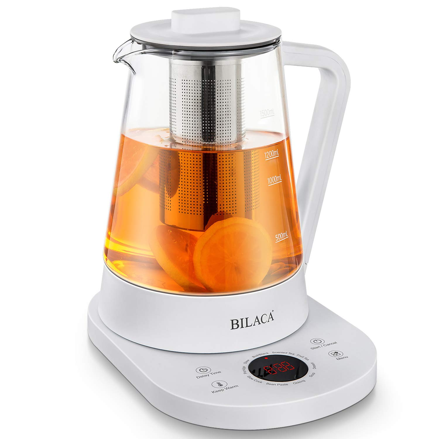 Electric Tea Maker And Kettle 1.5 Liter Glass BILACA Slow Cook Master With Temperature Control Panel Base One Touch Kitchen Health Pot for Tea Coffee Soup Dessert,White