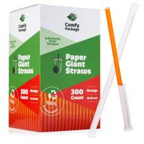 """[300 Pack] 10.25"""" Long Paper Straws, 100% Biodegradable - Individually Paper Wrapped - Smoothie, Milkshake"""