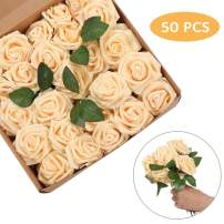 Artificial Flowers Roses 50pcs Champagne Roses Wedding Decoration Real Looking Fake Roses w/Stem for DIY Wedding Bouquets Centerpieces Arrangement Party Baby Shower Home Decoration (Champagne, 50 pcs)