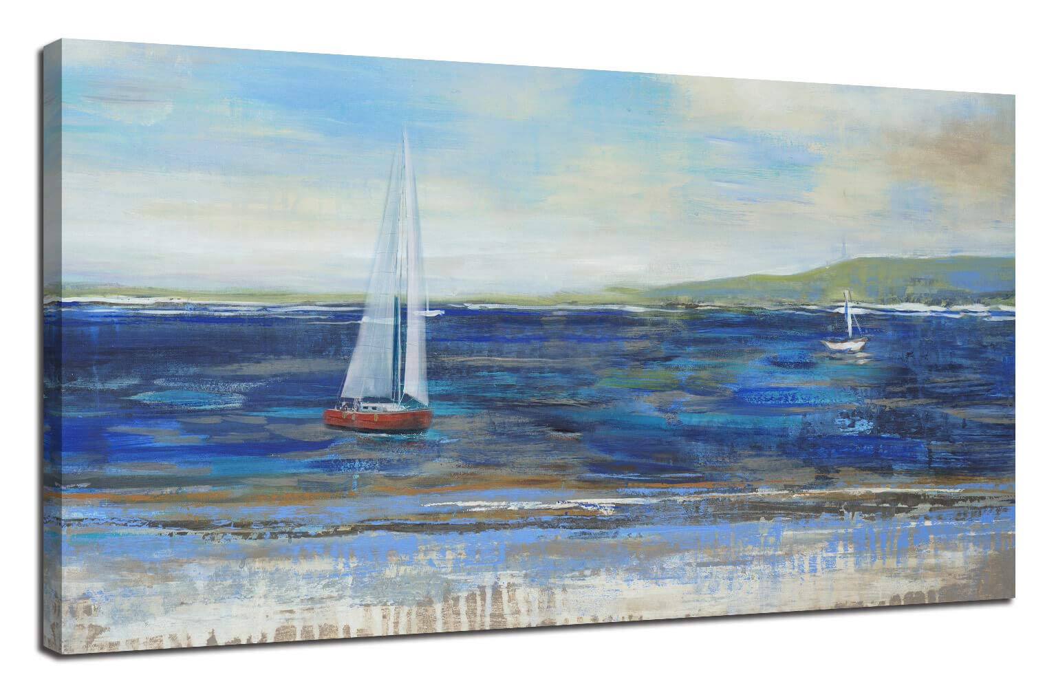 """Ardemy Canvas Wall Art Blue Abstract Seascape Painting Large Size One Panel Picture Prints, Modern Landscape Sail Boat in Ocean Artwork Framed for Living Room Bedroom Home Office Decor 48""""x24"""""""
