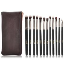 MSQ Eyeshadow Brushes 12pcs Rose Gold Eye Make Up Brush Set with Bag (PU Leather Pouch) Soft Synthetic Hairs for Eyeshadow, Eyebrow, Eyeliner, Blending, Best Gifts - Rose Gold