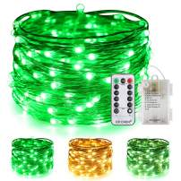 ER CHEN Color Changing Battery Operated Fairy Lights, 33ft 100 LED 8 Modes Silvery Copper Wire Twinkle String Lights with Remote/Timer for Bedroom, Patio, Wedding, Party (Warm White&Green)