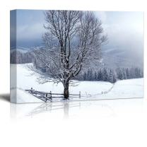 """Canvas Prints Wall Art - Beautiful Winter Landscape with Snow Covered Trees (24"""" x 26"""")"""