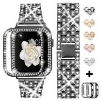 Bekomo [3-Pack] Compatible for Apple Watch Band 38mm with Rhinestone Protective Cover,1pack Women Girls Bling Diamond Metal Strap & 2pack Soft PC Bumper Protective Case for iWatch Series 3/2/1