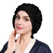 LilySilk Black Silk Bonnet Cap for Women Traceless Half Black Elastic 100 Real Mulberry Silk 19 Momme Flat Cap Sleeping for Hair