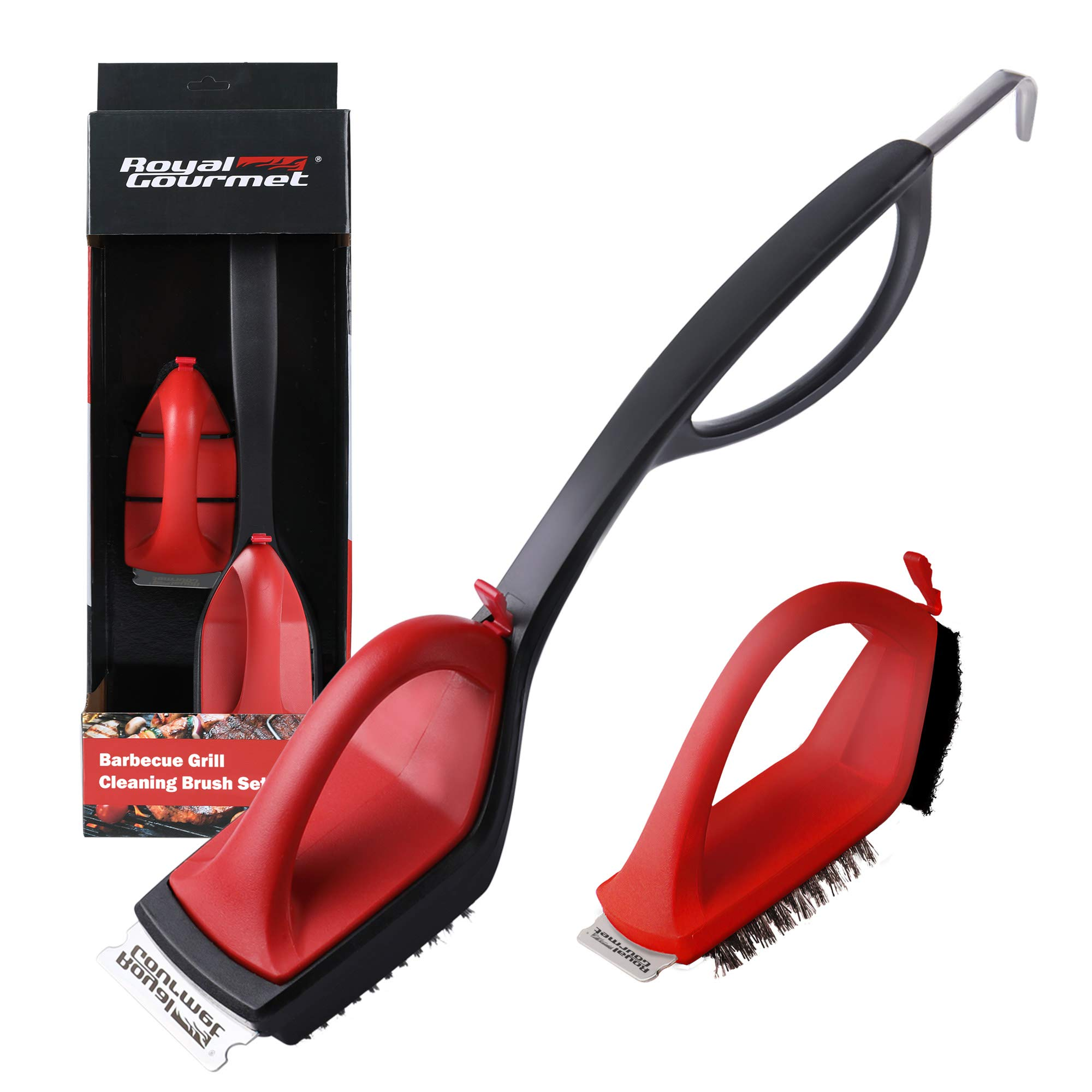 Royal Gourmet TB1806 Grill Cleaning Brush Set, 18-Inch BBQ Wire Bristle Brush and Scraper with Extra Replacement Head for Gas/Charcoal Grills Grates, Perfect Cleaning Accessory, Red