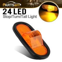 "Partsam 1pcs 6"" Mid Turn Signal Amber Marker Light Rubber Mount 24 LED w/reflector Universal"