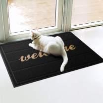 WOHOUS Universal Door Mats, 23.5''x35'' Welcome Pattern Heavy Duty Rubber Door Mats for Home Entrance, Anti-Slip Durable Doormats for Indoor and Outdoor Use, Waterproof, Easy Clean, Low-Profile Black
