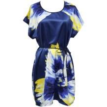 Women's Nightgown Silky Sleepwear Short Batwing Sleeve Satin Sleepdress for Women for Gift