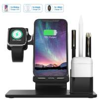 Wireless Charger Stand, 2020 Newest Wonsidary 4 in 1 Wireless Charging Station for iPhone Xr/Xs/Xs Max/X/8/8Plus/iWatch/Airpod