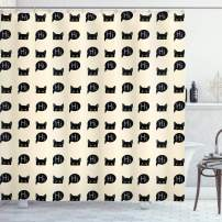 """Ambesonne Cat Shower Curtain, Young Black Kitties Sneaking on and Saying Hi and Playful Domestic Pets, Cloth Fabric Bathroom Decor Set with Hooks, 70"""" Long, Black Ivory"""