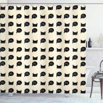 """Ambesonne Cat Shower Curtain, Young Black Kitties Sneaking on and Saying Hi and Playful Domestic Pets, Cloth Fabric Bathroom Decor Set with Hooks, 75"""" Long, Black Ivory"""