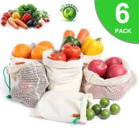 Reusable Produce Bags, Eco-Friendly Organic Cotton Mesh Bag with Tare Weight on Tags for Grocery Shopping & Storage, Double-Stitched Seams, Washable, Pack 6