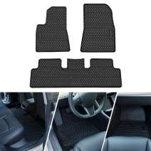 Sunluway All Weather Floor Mats Fit 2017 2018 2019 Tesla Model 3 - Flexible & Eco-Friendly Latex Material Waterproof Protection Mat (Full Set Front & Rear for All Season Use)