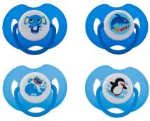 Avima Baby Pacifiers, 6-12 Months. Orthodontic Nipple. Blue. Set of 4 with 2 Bonus Sterilizer Cases.