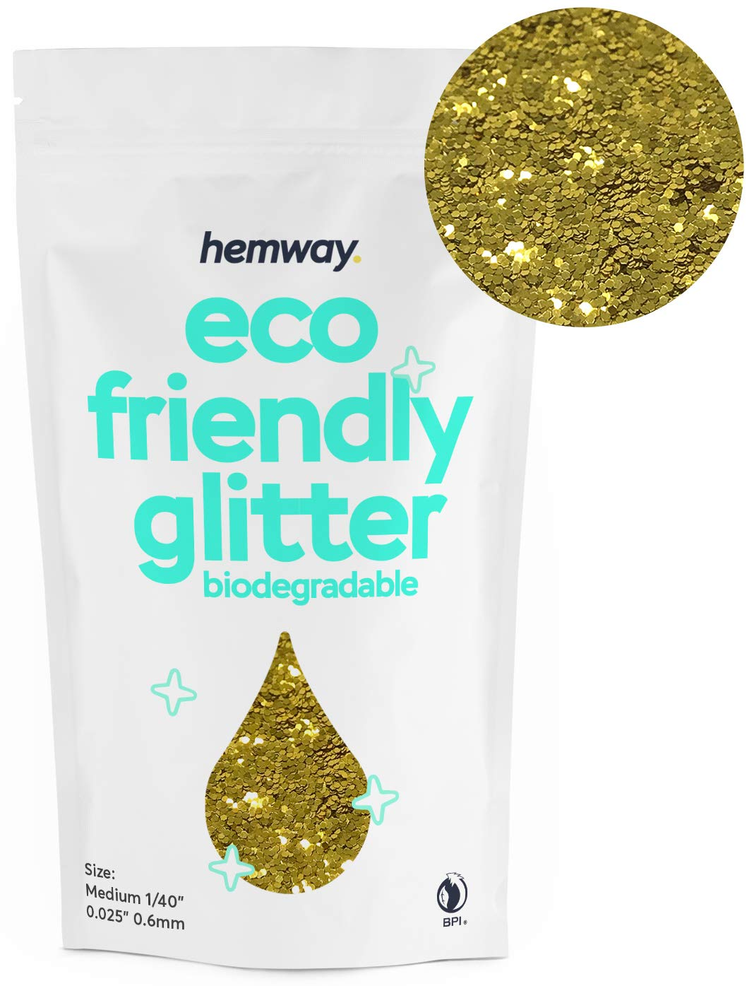 """Hemway Eco Friendly Biodegradable Glitter 100g / 3.5oz Bio Cosmetic Safe Sparkle Vegan for Face, Eyeshadow, Body, Hair, Nail and Festival Makeup, Craft - 1/40"""" 0.025"""" 0.6mm - Gold"""