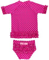 RuffleButts Girls Rash Guard Short Sleeve 2-Piece Swimsuit Set - Polka Dot Bikini with UPF 50+ Sun Protection