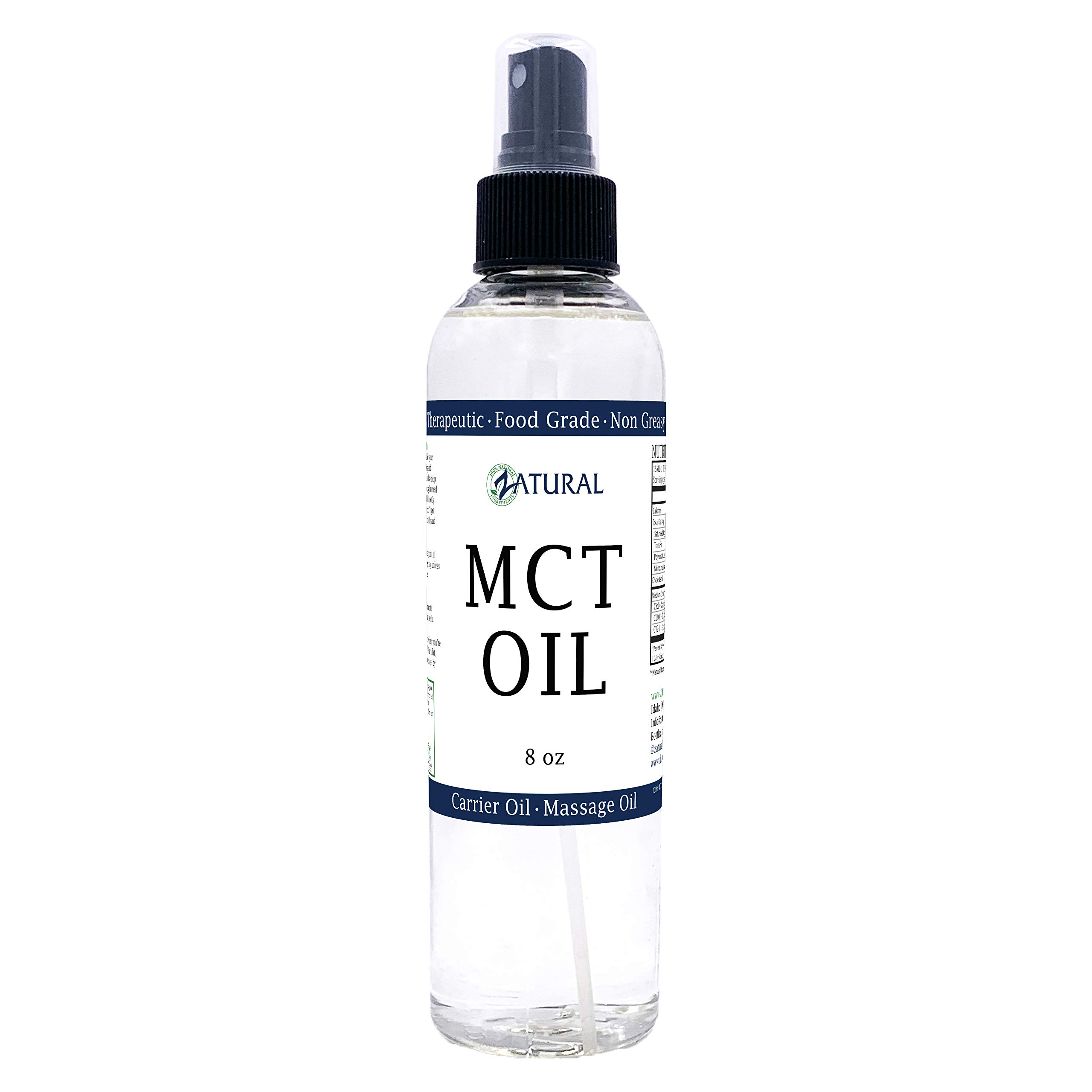 MCT Oil, Certified Food and Therapeutic Grade, Carrier Oil, Massage Oil, Hydrating Oil, Hair Oil, 0 Additives, Pure MCT Oil (8 Ounce)