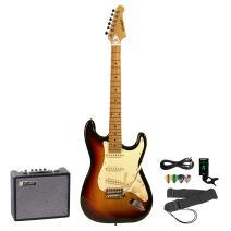 Sawtooth Electric Guitar Bundle, Sunburst (ST-ES-SBVC-KIT-5)