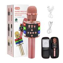 MIRIO 6 in 1 Wireless Bluetooth Karaoke Microphone with Multi-Color LED Lights, Portable Handheld Mic & Speaker for Christmas, Birthdays, Home Parties, Adjustable Radio Recorder(Rose Gold)