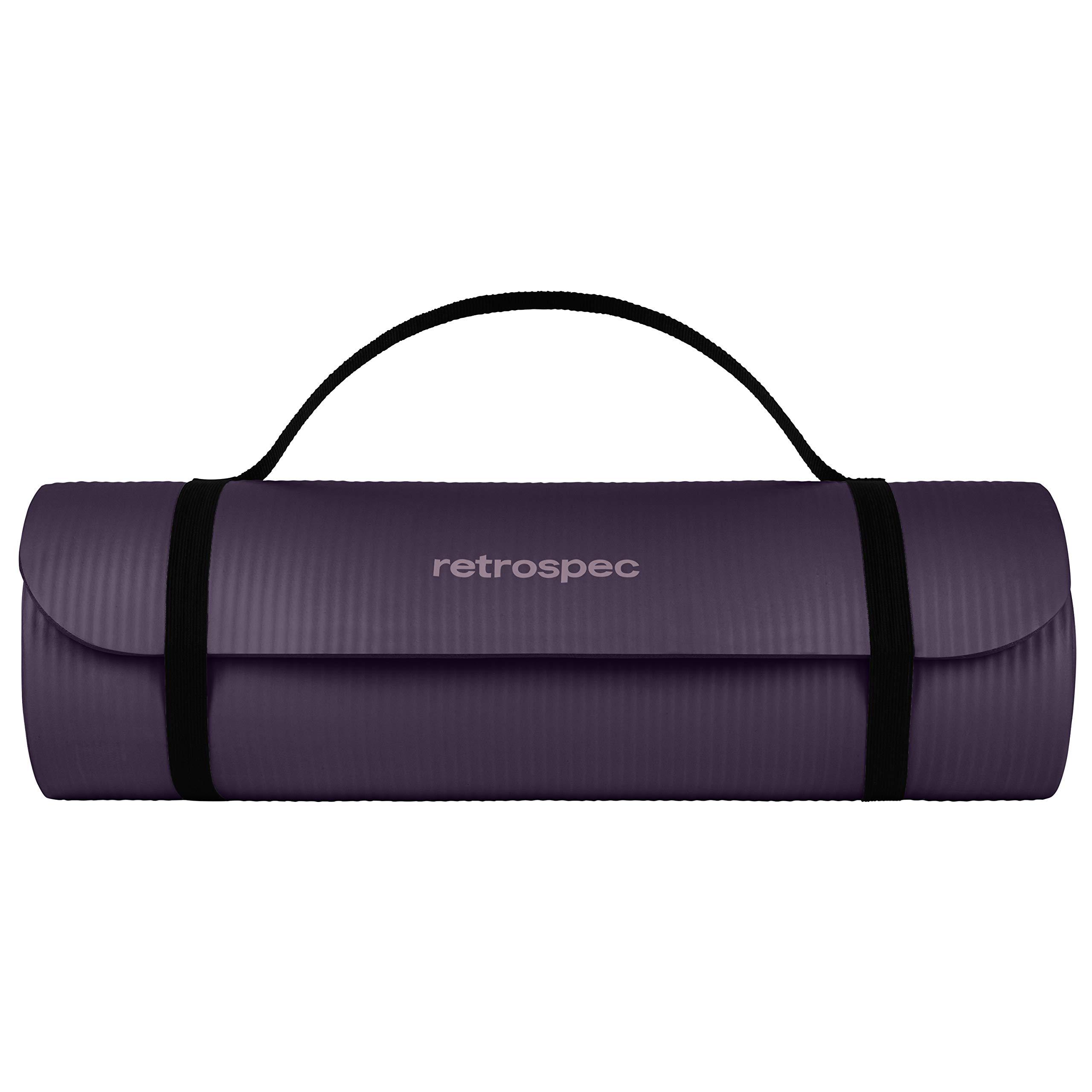 """Retrospec Solana Yoga Mat 1"""" Thick w/Nylon Strap for Men & Women - Non Slip Excercise Mat for Yoga, Black, 1 inch (3393)"""