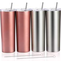 4 Pack Classic Tumbler Stainless Steel Double-Insulated Water Tumbler Cup with Lid and Straw Vacuum Travel Mug Gift with Cleaning Brush (Silver, Rose Gold, 20 oz)