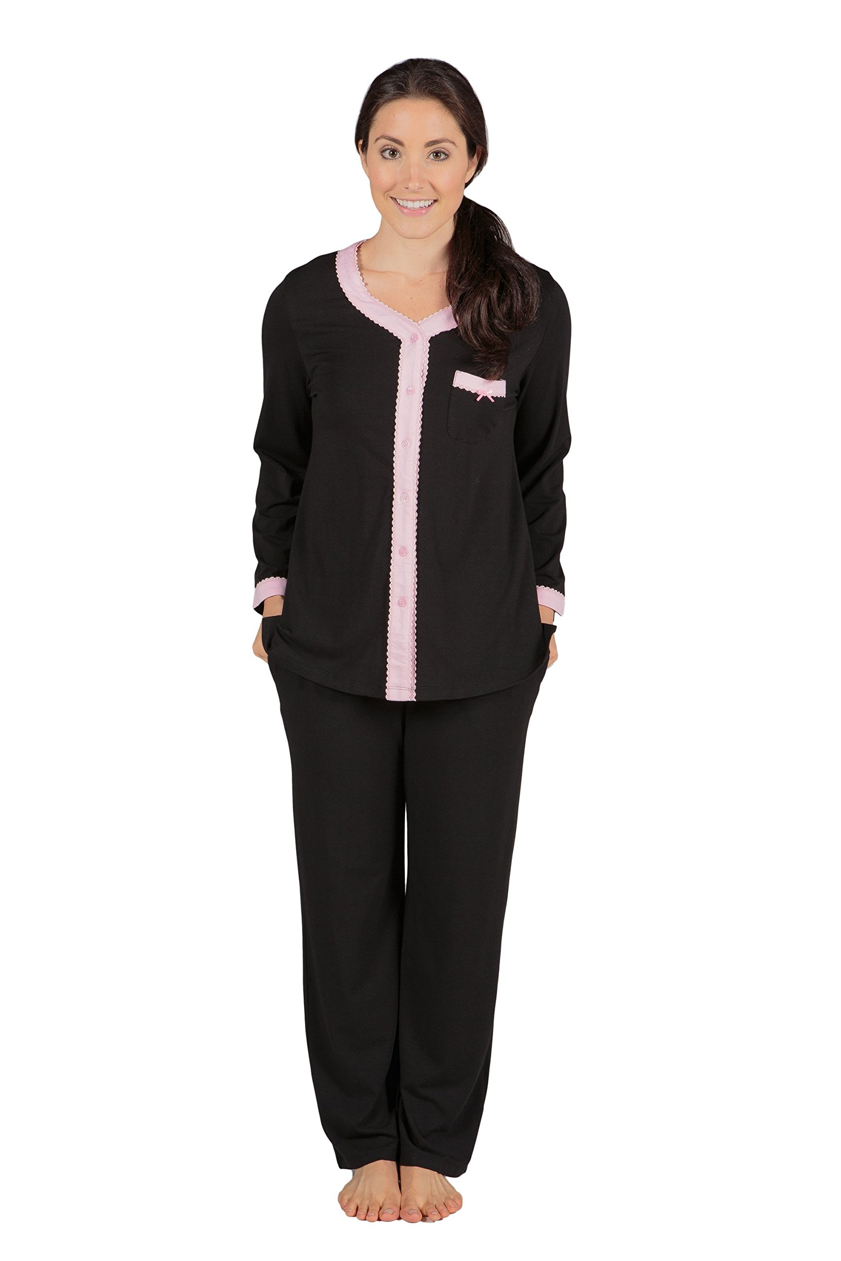 Women's Long Sleeve Pajama Set - Button Up Sleepwear by Texere (Eco Nirvana)