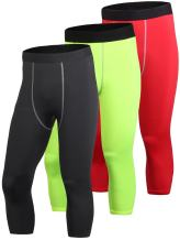 Yuerlian Men's Compression 3/4 Capri Shorts Baselayer Cool Dry Sports Tights 3 Pack