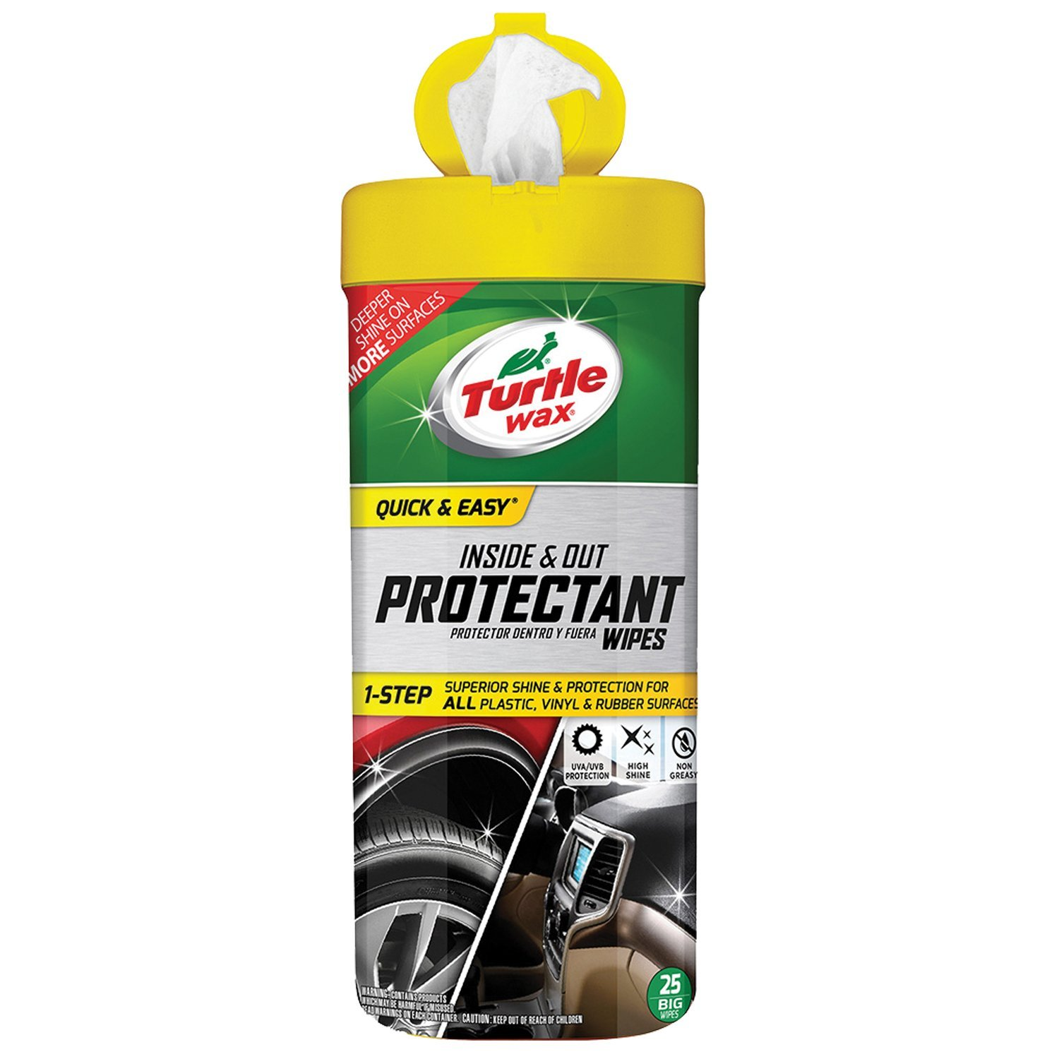 Turtle Wax 50651 Quick and Easy Inside and Out Protectant Wipes