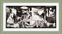 "Alonline Art - Guernica by Pablo Picasso | Silver framed picture printed on 100% cotton canvas, attached to the foam board | Ready to hang frame | 34""x17"" 