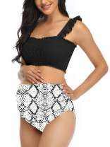 Maternity High Waist Bikini Swimsuit Two Piece Ruffled Hem Cute Floral Bathing Suit