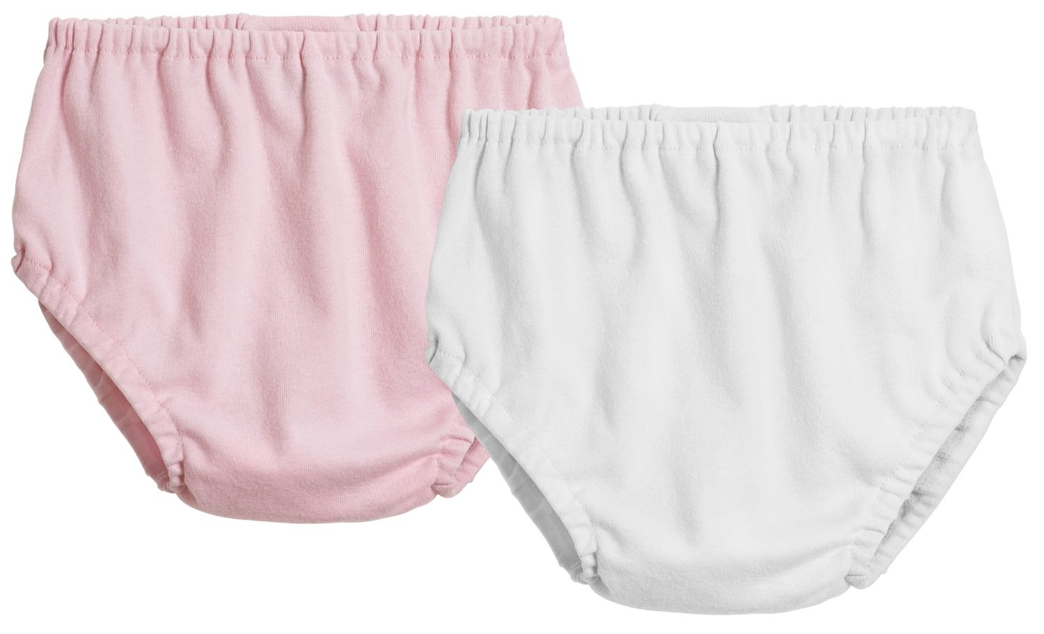 City Threads 2-Pack Baby Girls' and Baby Boys' Unisex Diaper Covers Bloomers Soft Cotton, Pink/White, 3/6 m