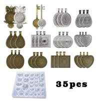 iSuperb 35 Pieces 7 Styles Pendant Tray Metal and 1 Piece Gem Resin Silicone Mold for DIY Cabochon Jewelry Craft with Shape of Owl, Key, Round, Square, Heart, Teardrop, Oval