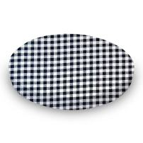 SheetWorld Fitted Oval Crib Sheet (Stokke Sleepi) - Navy Gingham Check - Made In USA