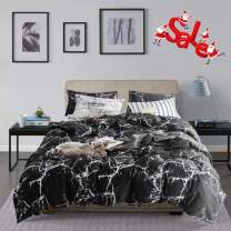Wellboo Black Marble Duvet Cover Cotton Queen Full Black and White Bedding Sets Adults Women Men Modern Ceramic Quilt Covers Abstract Organic Crack Artwork Duvet Covers Texture Gothic Chic No Insert