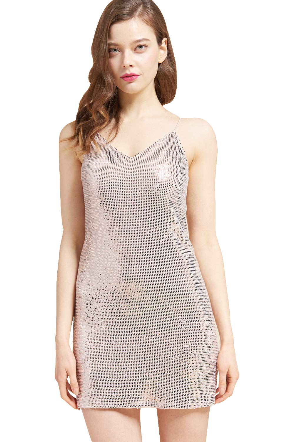 May You Be Women's Junior Sleeveless Sparkle Bodycon Mini Cocktail Evening Party Dress with V-Neckline