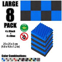 Arrowzoom New 8 Pack of 9.8 X 9.8 X 1.1 Inches Black and Blue Convoluted Foam Insulation Egg Crate Acoustic Wall Padding Studio Foam Tiles AZ1052 (Black & Blue)