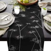 FAMILYDECOR Linen Burlap Table Runner Dresser Scarves, Black Lycoris Flower Kitchen Table Runners for Dinner Holiday Parties, Wedding, Events, Decor - 13 x 70 Inch